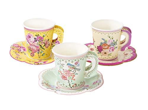 Talking Tables TS6-CUPSET-VINTAGE Truly Scrumptious Party Vintage Floral Tea Cups and Saucer Sets, Pack of 12, Height 8cm, 3