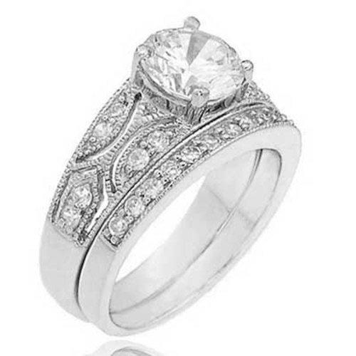 1.25 Carat Sterling Silver Round Cubic Zirconia Antique Engagement Wedding Bridal Ring Set SPJ