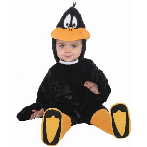 Daffy Duck Costume (Looney Tunes Daffy Duck Romper Costume, Black, 12-18 Months)