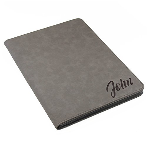 Personalized Leather Padfolio ( Monogrammed Portfolio with Zipper, Custom Personalized Padfolio Pad Holder )