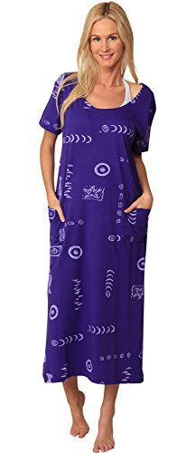 (INGEAR Cotton Dress Beach Casual Sleeve Summer Long Fashion Cover Up Plus Size (XXLarge, Purple/Light)