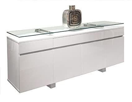Modern White Lacquer Credenza With Premium Floating Glass Top