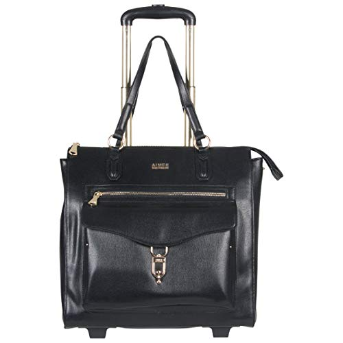 (Aimee Kestenberg Isla Women's Saffiano Faux Leather 2-Wheel 15in Laptop & Tablet Anti-Theft RFID Business Case / Carry-On Travel Tote, Black )