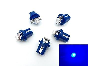 TMT LEDS(TM) 5 X BOMBILLAS LED B8.5D 1 LED SMD 5050 AZUL SALPICADERO: Amazon.es: Coche y moto