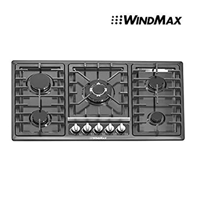 "Windmax 34"" Black Titanium Stainless Steel Built-in 5 Ring Burners Stoves Gas Hob Cooktop Cooker"