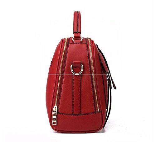 Moda bolsos de cuero paquete cuadrado pequeño paquete diagonal moda bolso portátil simple moda bolsos, 28 * 13 * 23 cm, Rose Rojo
