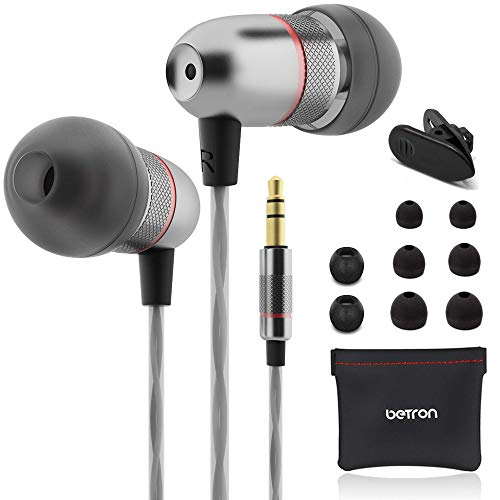 Betron ELR50 Earbuds, Noise Isolating Earphones, Bass Driven Sound, Premium Audio Quality in Ear Headphones, Compatible with iPhone, Samsung, Laptops, Tablets and Android Smartphones, Black