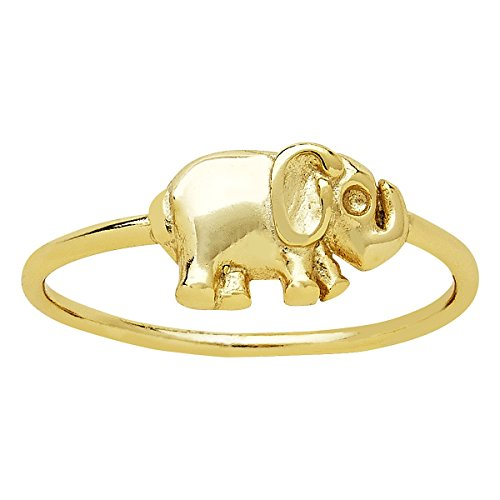 Sterling Silver Vermeil Ring (Sterling Forever Elephant Ring For Women, Gold Plated Sterling Silver Elephant Ring, Gold Vermeil, Lucky Ring Size : 6)
