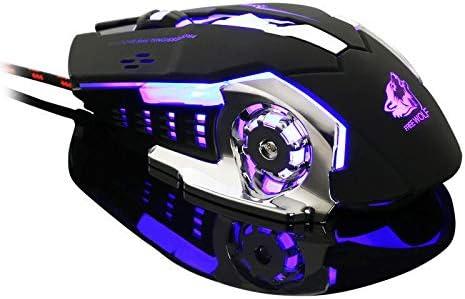 OUYAWEI Ergonomic Pro Wired LED Light 4000DPI Optical USB Gamer Gaming Mouse Black
