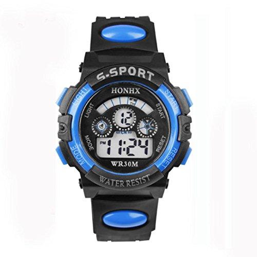 Children Watches Shoe (Anxinke Waterproof Children Watches, Boys Alarm Date Sports LED Digital Wristwatch (Blue))