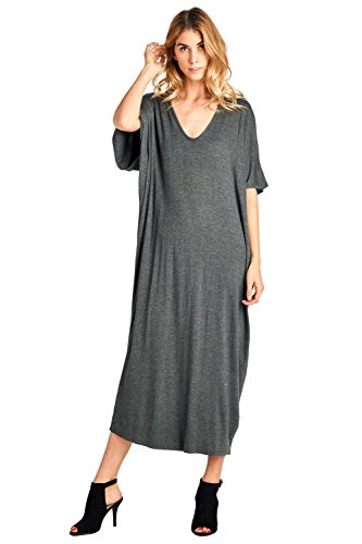 12 Ami Everyday Solid Short Sleeve Caftan Maxi Dress - Made in USA