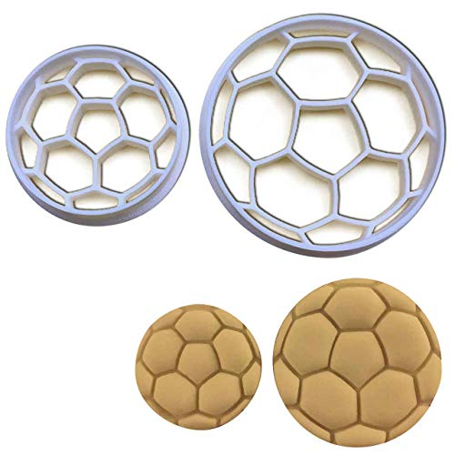 SET of 2 Soccer Ball cookie cutters (large and small size), 2 pcs, Ideal as treats for sports team bonding - Soccer Cookie Ball