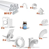Central Vacuum 3-Inlet Installation Kit & 80 feet of Pipe All in a Box
