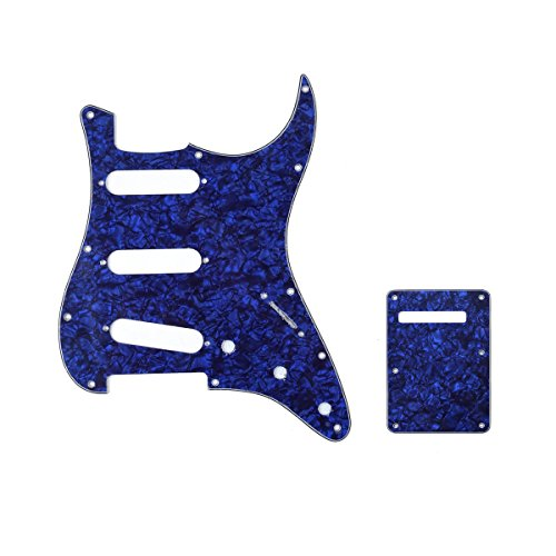 Musiclily SSS 11 Holes Strat Guitar Pickguard and BackPlate Set for Fender USA/Mexican Made Standard Stratocaster Modern Style Parts,4Ply Blue Pearl