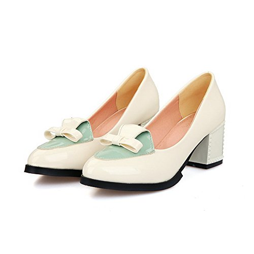 Closed Toe Pointed Pumps On Shoes Pull Beige WeenFashion Color Women's Heels Kitten Assorted 8THw1aq