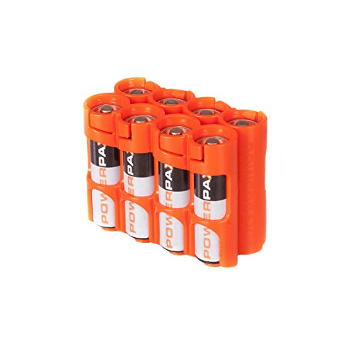 Storacell by Powerpax AA Battery Caddy, Orange, Holds 8 Batteries by Storacell