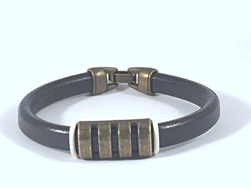 Black Licorice Leather Bracelet with Decorative Brass Accessories - Black Licorice Leather Bracelet