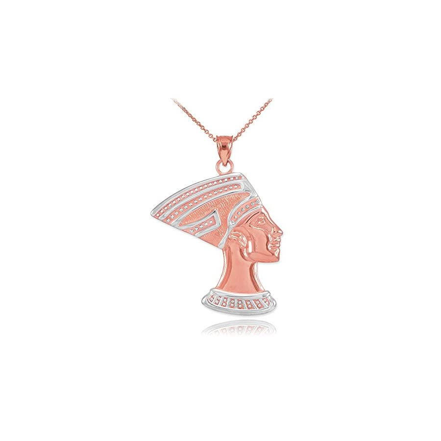High Polish 10k Two Tone Rose and White Gold Egyptian Queen Nefertiti Charm Pendant Necklace
