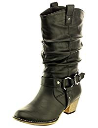 Cambridge Select Women's Pull On Western Style Cowboy Boots
