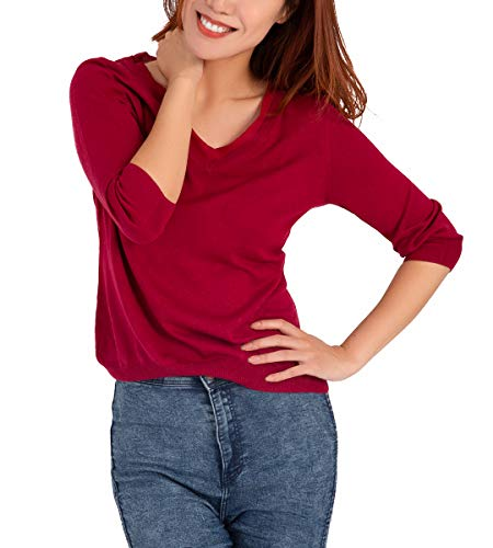 Women's Silk Knit V-Neck Sweater – Ultra-Soft Regular Fit Pullover with 3/4 Sleeves ()