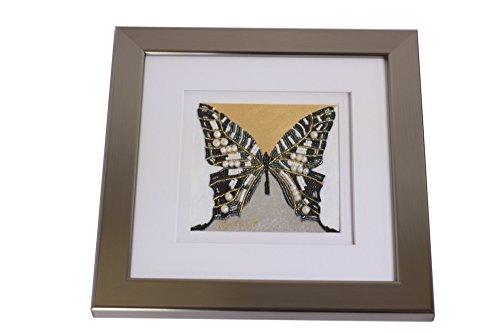 Eydelia - Glass Bead Mosaic Wall Art - Butterfly - Black & Pearl