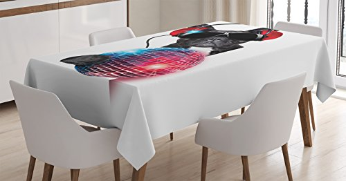 Music Decor Tablecloth by Ambesonne, DJ Bulldog Listening to Music with a Fancy Disco Ball and Lights Puppy Enjoy, Dining Room Kitchen Rectangular Table Cover, 52 X 70 (Music Themed Tablecloths)