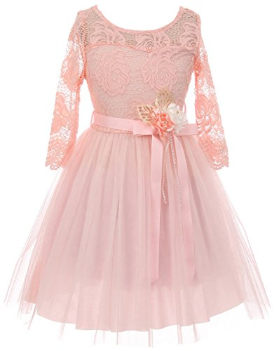 Big Girls' Long Sleeve Girls Dress Floral Lace Roses Corsage Easter Flower Girl Dress Blush 14 (J20KS98)