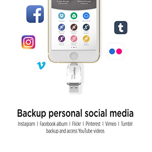 [Apple MFi Certified] Gigastone USB 3 0 128GB Flash Drive for iPhone, Easy  Multi Function App, Lightning, iFlashDrive, OTG High Speed, iOS iPad PC Mac