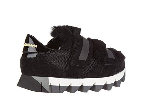 en baskets amp;Gabbana noir cuir sneakers capri femme Dolce chaussures Noir wqEfp7pX