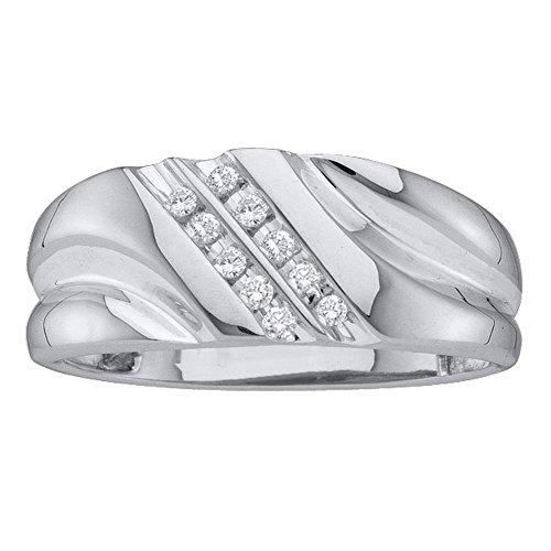 (14k White Gold Round Diamond Mens Lightweight 2-row Channel-set Wedding Band 1/8)
