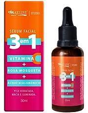Serum Facial 3 em 1 Vitamina + C Rosa Mosqueta + Ácido Hialurônico - Pele Hidratada, Macia e Iluminada 30ml Max love