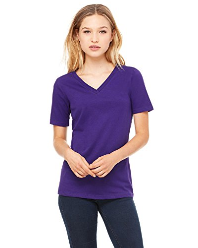 (Bella 6405 Womens Relaxed Jersey Short Sleeve V-Neck Tee - Team Purple, Small )