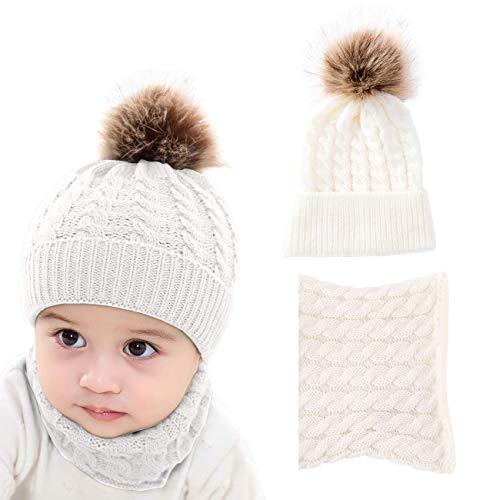 - DRESHOW BQUBO 2 Pack Baby Winter Knit Hat Toddler Crochet Hat with Necklace Children抯 Pom Winter Hat Beanie