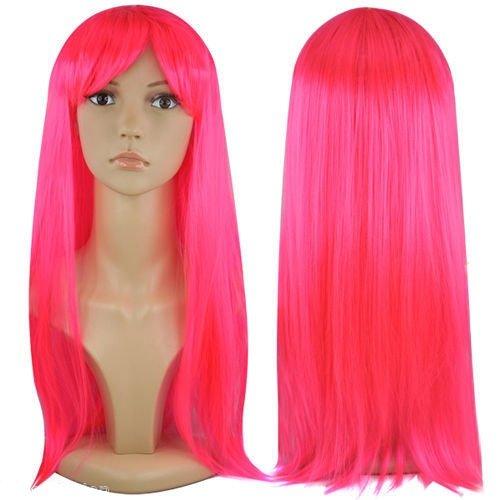 Peluca para mujer larga lisa de color rosa neón