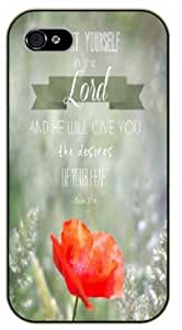 iPhone 6 Bible Verse - Delight yourself in the Lord. Floral. Psalm 37:4 - black plastic case / Verses, Inspirational and Motivational