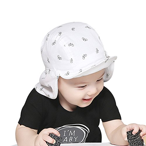 4097ad21838 Xiaolanwelc Baby Sun Caps Cotton Neck Protect Girls Boys Caps Breathable  Sun Girls Hats Bicycle Print