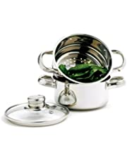 Norpro 1 Quart Stainless Steel 3 Piece Mini Steamer Cooker Set