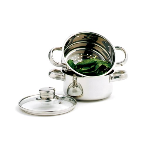 Norpro 1-Quart Stainless Steel Mini Steamer Cooker, 3 Piece Set