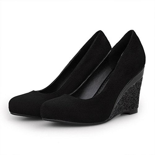 VogueZone009 Womans Closed Round Toe High Heel wedges PU Frosted Solid Pumps, Black, 2.5 UK