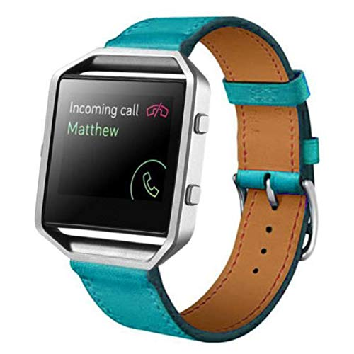 Watch Bands Quick Release, Leather Watch Band Strap for Fitbit Blaze Smart Watch, Band Only (Blue)