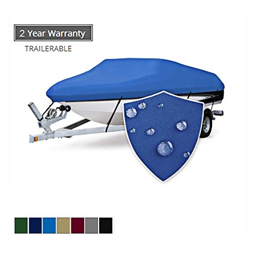 Seamander Trailerable Runabout Boat Cover Fit V-Hull Tri-Hull Fishing Ski Pro-Style Bass Boats, Full Size (Pacific Blue, 14'-16'L Beam Width up to 68