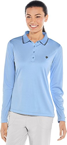 Coolibar UPF 50+ Women's Long Sleeve Birdie Golf Polo - Sun Protective (Small- Spring Blue -