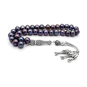 GloBeads - Cuentas de oración de gema turca Tasbih regalo, corte la bola perla negro satinado plata ajuste Tasbih Puskullu 925