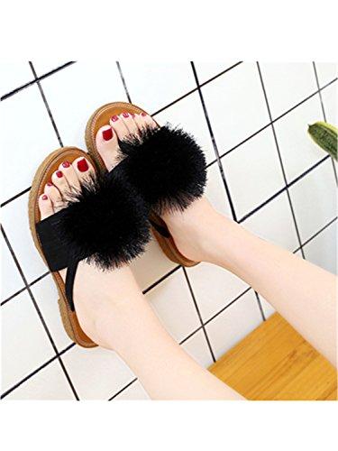 Shoes Comfortable Slippers Flip Jwhui Home Spring New Summer Flat F Beach Women Flops Slippers Bow Home Flowers Autumn black HnHqRag