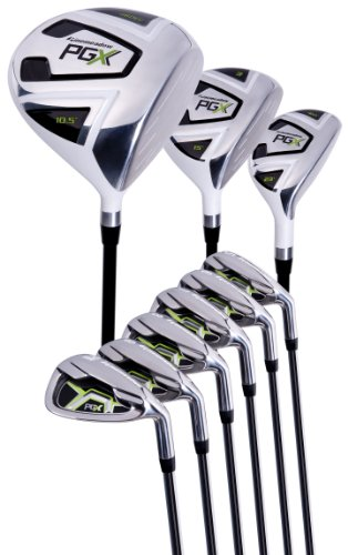 - Pinemeadow Men's PGX Golf Set-Driver, 3 Wood, Hybrid, 5-PW Irons (Right Handed, Regular Flex)