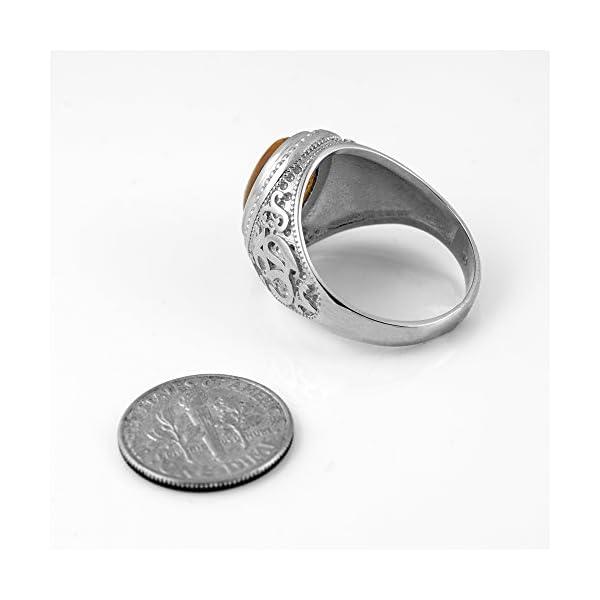 Sterling-Silver-Om-Aum-Mantra-Ring-Tiger-Eye-Oval-Cabochon-Gemstone