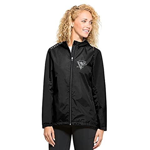NHL Pittsburgh Penguins Women's '47 React Full Zip Hooded Jacket, X-Large, Jet Black - Pittsburgh Penguins Jacket