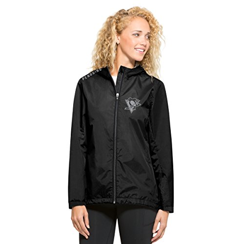 NHL Pittsburgh Penguins Women's '47 React Full Zip Hooded Jacket, Small, Jet Black