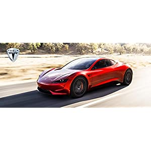 2020 Tesla Roadster Printed Car Poster 58x25 Large Electric Supercar Art