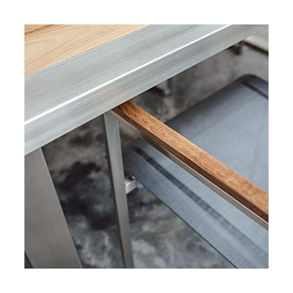Linneborn - Set di mobili da Giardino Composto da 1 Tavolo da Giardino da 240 cm e 6 sedie in Acciaio Inox e Teak Metallico 3 spesavip